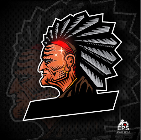 Man face profile with feathers in the head.