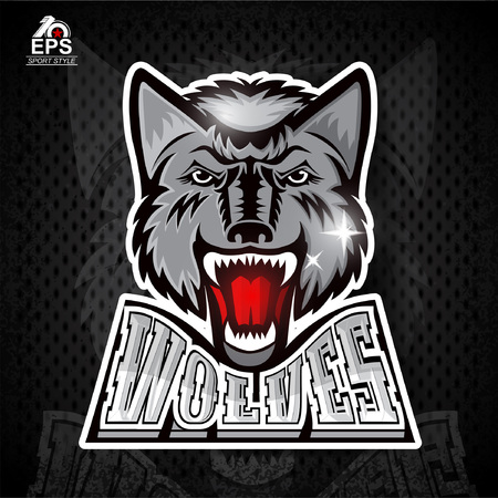 Beast front head with bared teeth for any sport team wolves Illustration