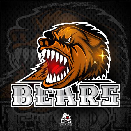 Beast head with bared teeth for any sport team bears