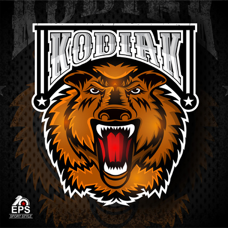 Bear face from the front with bared teeth. Logo for any sport team kodiak Illustration