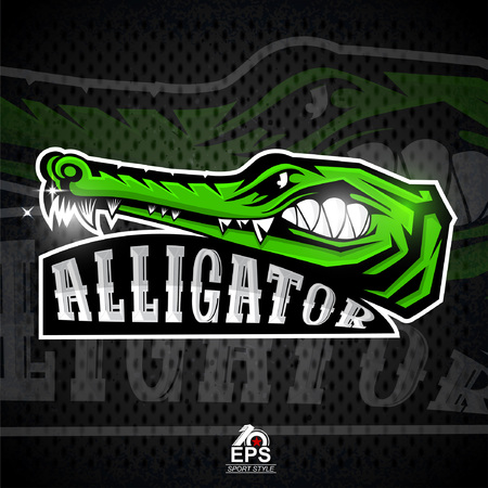 Crocodile face in profile with bared teeth for any sport team alligator