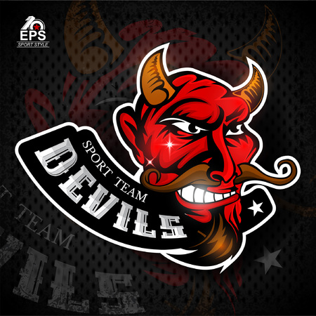 Satan face in profile with bared teeth. Logo for any sport team devils Illustration