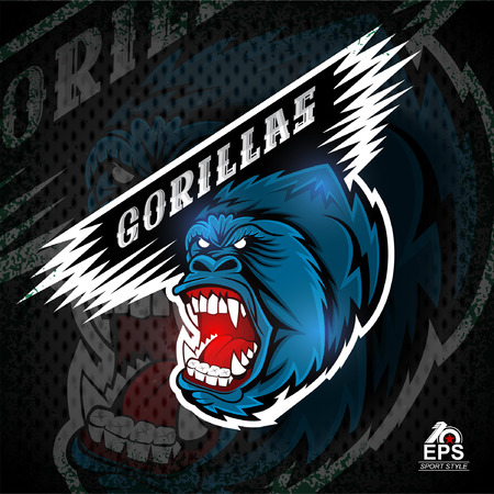Monkey head with bared teeth. Logo for any sport team gorillas