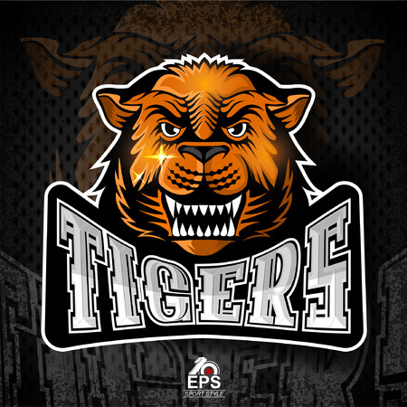 Cat face from the front with bared teeth for any sport team tigers Illustration