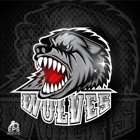 Beast head with bared teeth. Logo for any sport team wolves