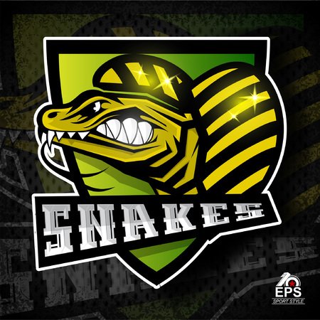 Reptile face in profile with bared teeth. Logo for any sport team snakes Illustration
