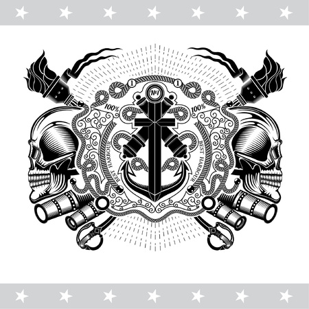 Two cross cannon with anchor, between skull profile and vintage weapons. Marine label isolated on white