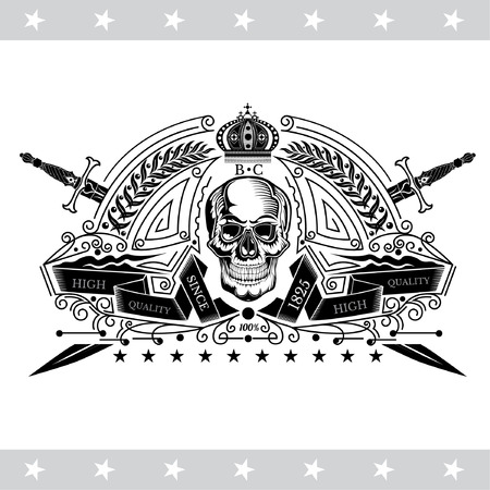 Skull front view with a lower jaw in center palm wreath and cross swords behind. Heraldic vintage label on white
