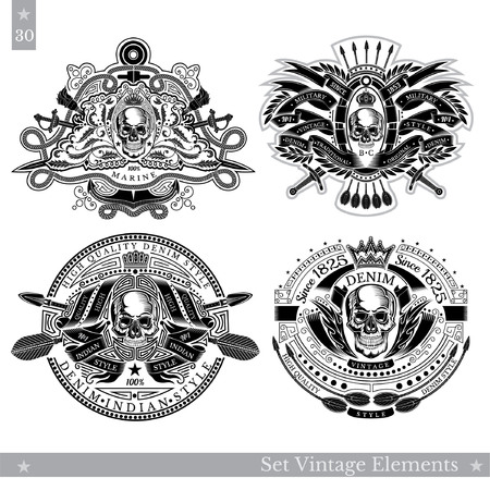 Skull with vintage elements, weapon, pattern. Set of vintage and nautical banners on white