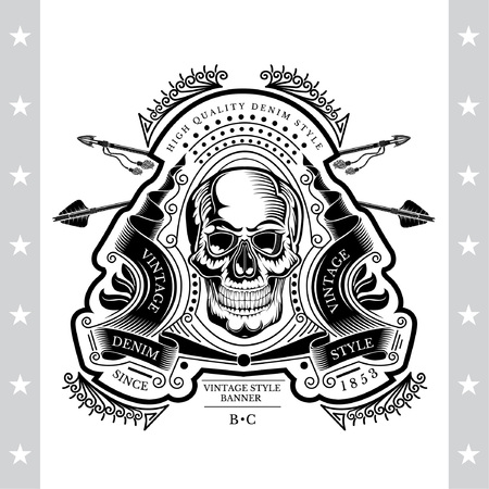 Skull front view in center of winding ribbon with cross arrows and line pattern vector illustration Illustration