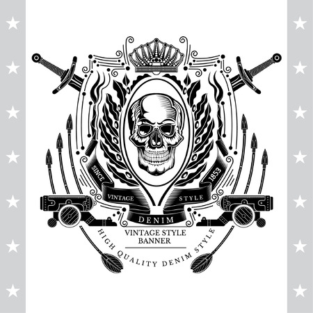 Skull front view in center of oval olive wreath between cross swords, cannons and arrows vector illustration Ilustração