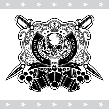 Skull front view in center of round ribbon between line pattern with cross sabers and cannon behind. Marine label isolated on white
