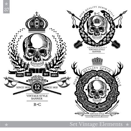 Skull emblem with vintage weapon Set