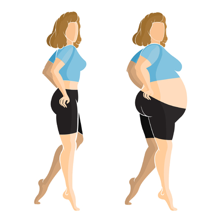 Flat illustration. Slender and fat girls beside each other in profile, isolated on white