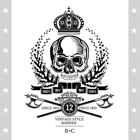 Skull front view without a lower jaw in center of floral wreath with cross halberd under. Heraldic vintage label on white