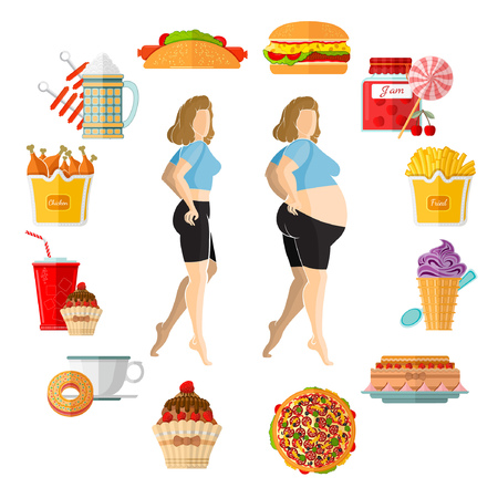 flat illustration weight gain or plump. Fat and slender girl in the middle of clock face with different icons of harmful products