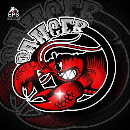 Crab in profile with bared teeth. Icon for any sport team cancer