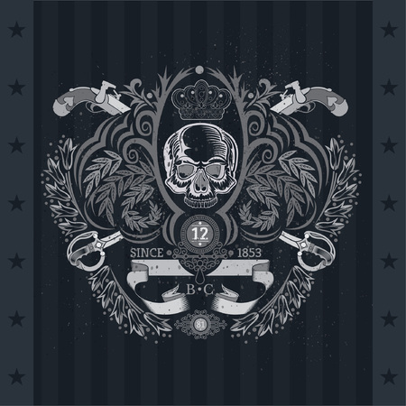Skull front view in center of floral pattern with cross vintag guns and sabers. Heraldic vintage label on blackboard Vettoriali