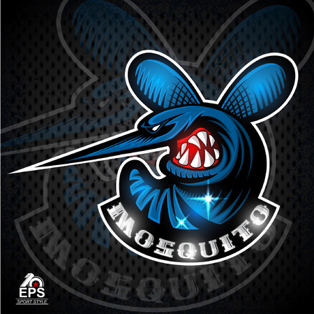 Mosquito insect in profile with bared teeth for any sport team