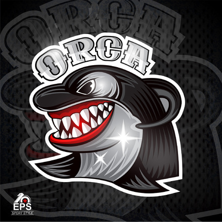 Orca face in profile with bared teeth for any sport team