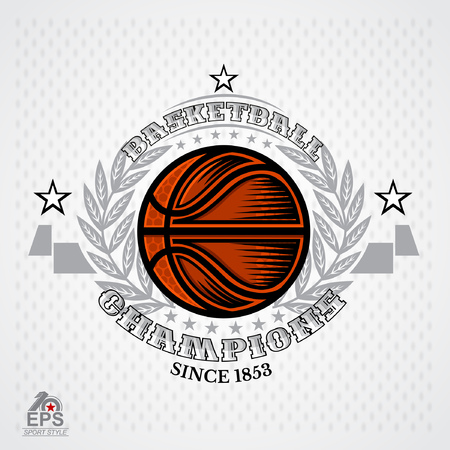 Basketball ball in center of silver wreath on light background. Sport logo for any team