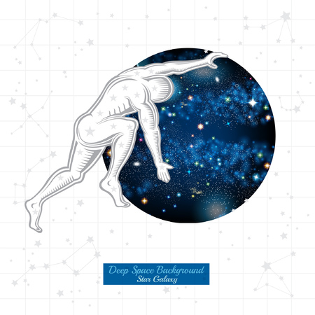 Atlas push round space with starry sky on white background with constellation Иллюстрация