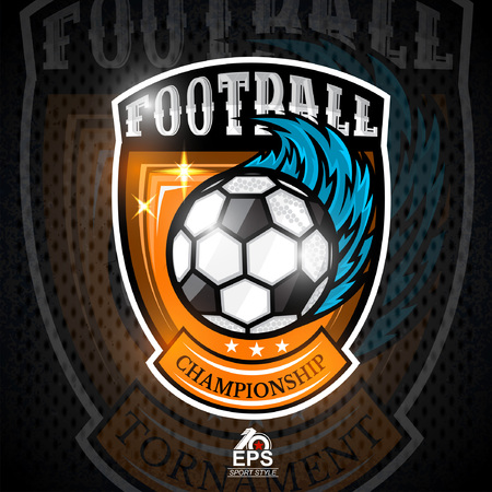 Soccer ball with wind blue trail in center of shield. Sport logo for any football team Stock Illustratie