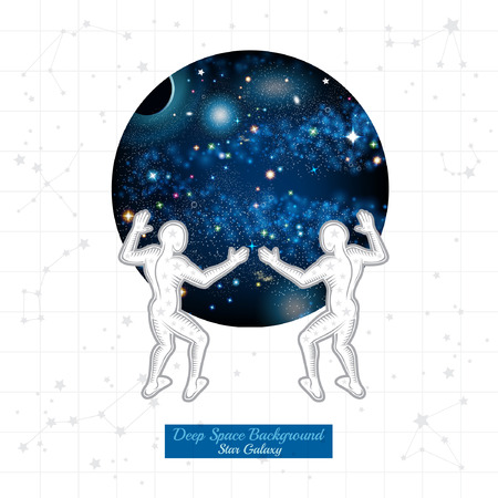 Two Atlant hold round space with starry sky on white background with constellation