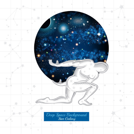 Atlant hold on back round space with starry sky on white background with constellation