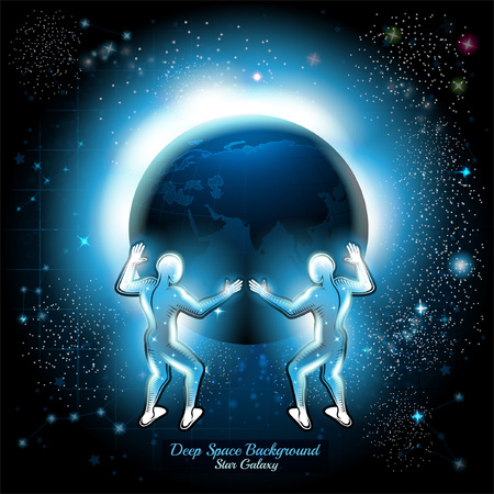 Two Atlants hold night earth in space with starry sky background Illustration