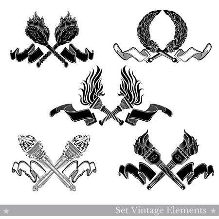 Set of crossed torches in engraving style isolated on white