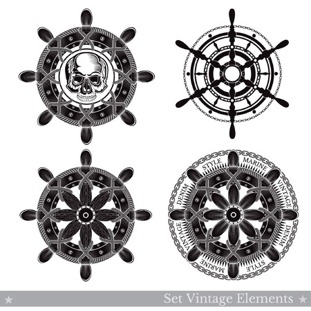 Skull of different ship wheels with cord, chain and skull. Marine vintage vector labels on white Illustration