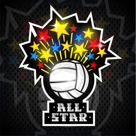 Multicolored stars fly out from volleyball ball and text all star. Vector sport logo for any team and championship Vettoriali