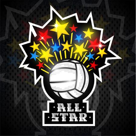 Stelle multicolori volano fuori dalla palla da pallavolo e mandano un sms a tutte le stelle. Logo sportivo vettoriale per qualsiasi squadra e campionato Archivio Fotografico - 95301867