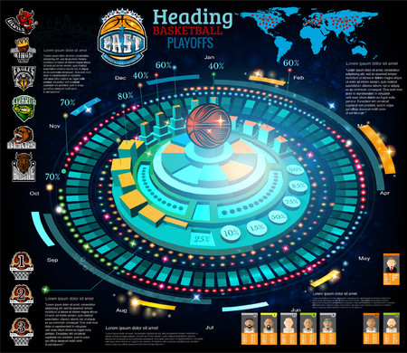 Abstract basketball infographic in computer game style. Vector blue background with information, chart, diagrams