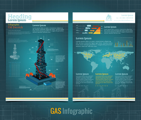 Business brochure or flyer design template with realistic gas rig or oil derrik and information. Vector modern style