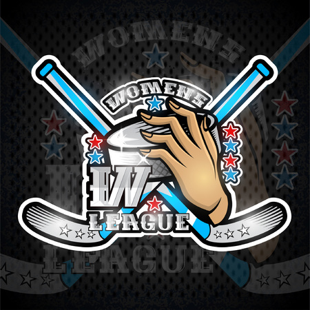 Hand hold hockey puck with crosses hockey stick and number three on front. Sport logo for any womens team or championship Illustration