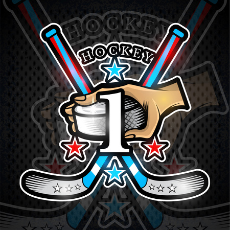 Hand hold hockey puck with crosses hockey stick and number one on front. Sport logo for any team or championship Çizim