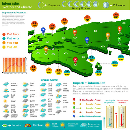 flat design of weather forecast report infographics with the world map, icons and report Banque d'images - 95151592