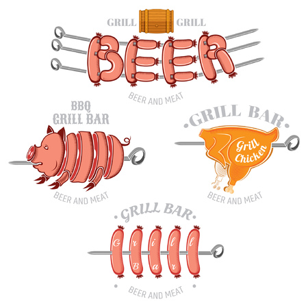 Set of color grill and BBQ labels or emblems isolated on white. Pork chicken and sausages on skewer