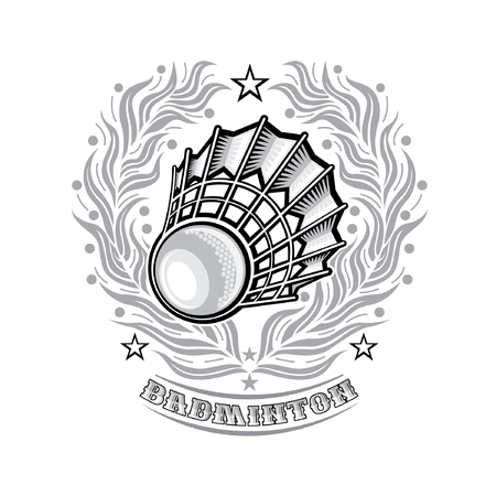 Volanchic in center of silver laurel wreath on light background. Sport logo for any badminton team or championship Illustration