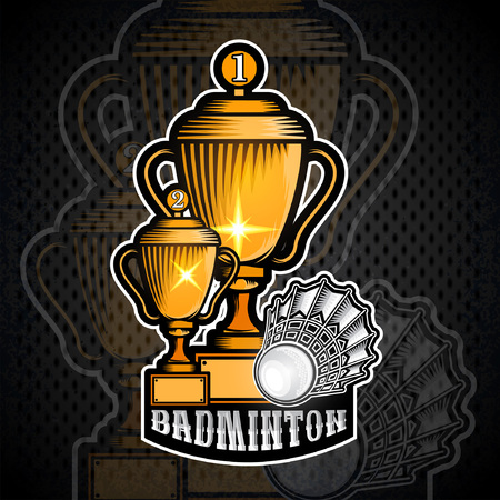Two golden badminton cups with volanchik. Vector sport banner or emblem in cartoon style Illustration