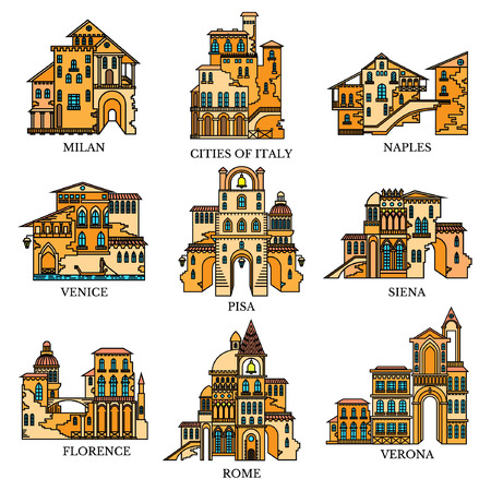 Set of different style and architecture cities of Italy. Vector color line icons for tourism web and advertising