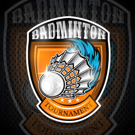 Volanchic with wind trail in center of shield. Sport logo for any badminton team or championship