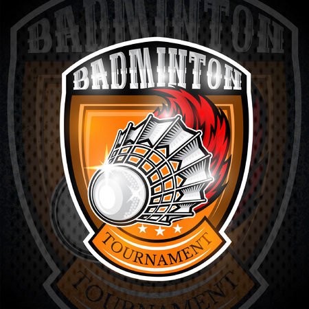 Volanchic with fire trail in center of shield. Sport logo for any badminton team or championship