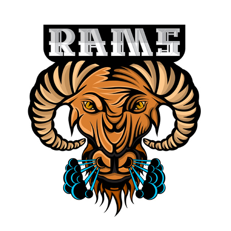 Ram face in profile with steam from the nostrils isolated on white. Logo for any sport team or championship