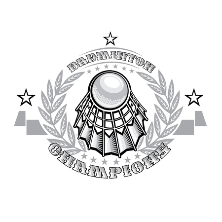 volanchic in center of silver laurel wreath on light background. Sport icon  for any badminton team or championship Vectores