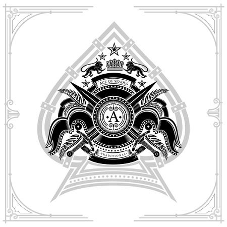 Ace of spades with cross swords ribbons and floral element. Engraving illustration isolated on white
