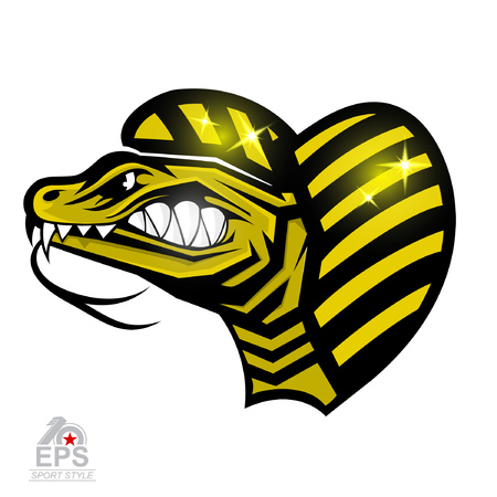 Reptile face in profile with bared teeth isolated on white. icon for any sport team snakes