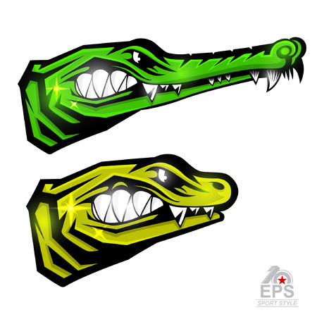 Crocodile face in profile with bared teeth isolated on white. icon for any sport team alligator and lizard Illustration